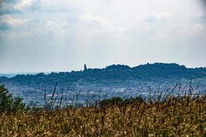 View of Monte Berico in Vicenza from a wheat field in Monteviale photo