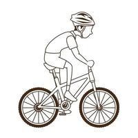 hombre montando bicicleta icono vector