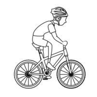 man riding bike icon vector