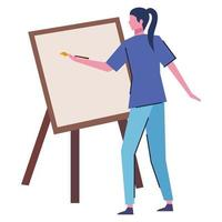 young woman painting picture character vector