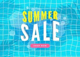 Summer sale banner Swimming pool with palm leaves shadow top view background vector
