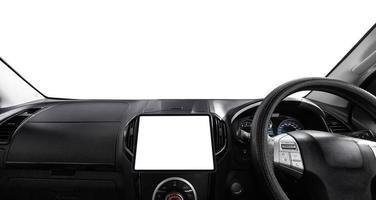 coche con pantalla blanca foto