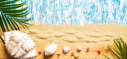 Seashell with summer background photo