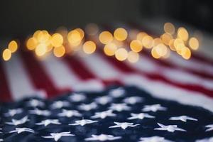 USA Flag with bokeh photo