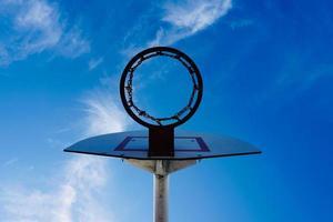 street basketball hoop and blue sky photo