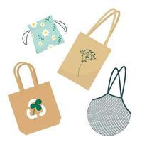 Cotton reusable bags zero waste concept vector