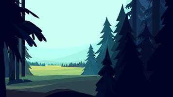 Coniferous forest in cartoon style vector