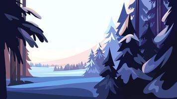 Winter coniferous forest vector