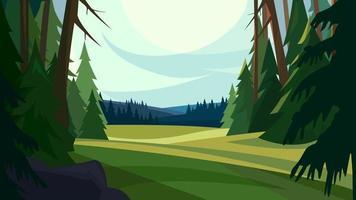Beautiful coniferous forest vector
