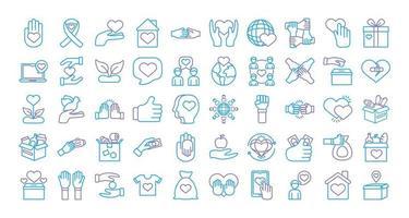 paquete de iconos de caridad y solidaridad vector