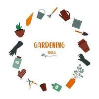 Gardening tools Set of gardener utensils watering can glowes pots soil towels bucket bottles and jars fertilizer secateurs scoop rake vector