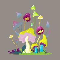 Field of magic mushrooms central composition with mystery landscape vector
