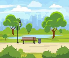 City summer park with green trees bench Town and city park landscape nature Cartoon vector illustration