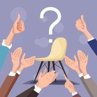 manos humanas aplaudieron a la ilustración de vector de manos desconocidas aplaudir en estilo plano