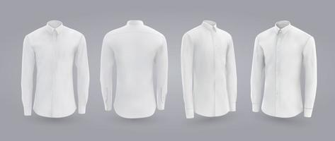 White male shirt with long and short sleeves and buttons in front back and side view isolated on a gray background 3D realistic vector illustration pattern formal or casual shirt