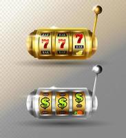 Slot Machine Vector set Golden Lucky Empty Slot Jackpot Gambling Machine Poster Spin Object Fortune Sign Poker Chips Casino 777 Illustration