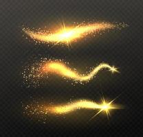 Sparkle stardust Golden glittering magic vector waves with gold particles isolated on black background Glitter bright trail glowing wave shimmer bright universe Vector illustration