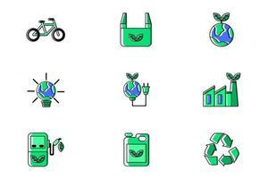 Ecology Conceptual Green Icon Set Vector Illustration Design