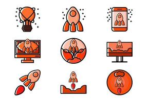 Startup Related Pixel Perfect Icon Set Vector Illustration Design