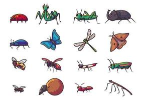 Set of different insect vector