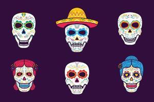 Mexican sugar skulls Collection vector