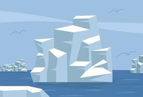 polo norte ártico con iceberg vector