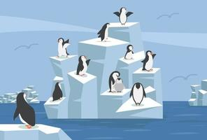 North pole Arctic with group of penguins vector