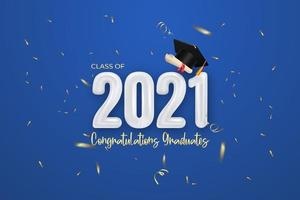 Class of 2021 graduation banner with Balloon number vector