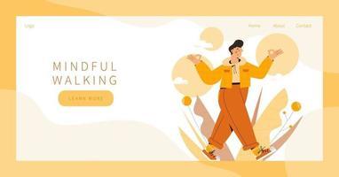 página de inicio de caminata consciente vector