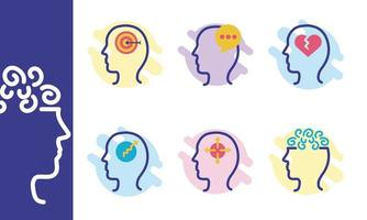 bundle of profiles mental health silhouette style icon vector
