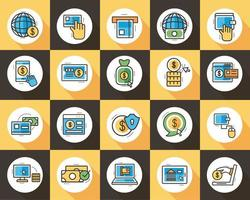 bundle of online banking set icons vector