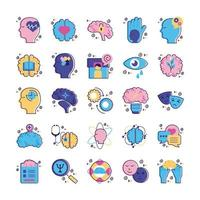 bundle of mental health set icons vector