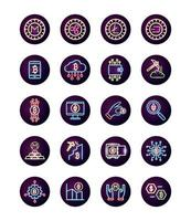 bundle of crypto currency icons neon style vector