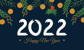 Happy new year 2022 banner or greeting horizontal card template Cartoon flat vector style of festive christmas tree elements