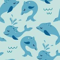 Seamless pattern with dolphin Marine theme ocean Suitable for fabric wallpaper clothing baby print Vector cute blue background