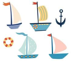 Cute ships sailboat yachts set Boat drawing set Small ships in cute flat design Sea transport Cartoon marine icons set for cards kids t shirt prints Childish collection Vector illustration