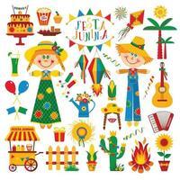 Festa Junina village festival in Latin America Icons vector