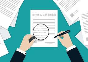 Businessman Hands signing on the terms and conditions form document vector