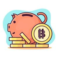 piggy bank with bitcoin coin isolated cartoon vector illustration in flat style