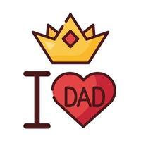Amo el corazón de papá y la línea de la corona y el ícono de estilo de relleno vector