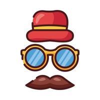 bigote de papá con anteojos y línea de sombrero e ícono de estilo de relleno vector