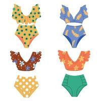 A set of fashionable swimwear in retro style. Beachwear. Vector Flat Illustration