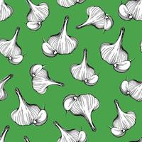 seamless pattern of garlic on a green background.A simple pattern of garlic.Hand-drawn vector illustration in the Doodle style. Head of garlic