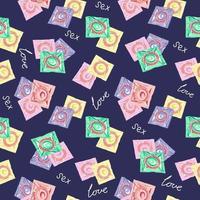 patrón sin costuras con condones. el concepto de sexo seguro. día mundial de la anticoncepción. anticonceptivos de látex en el paquete.prevención del sida, vih y enfermedades de transmisión sexual.ilustración vectorial vector
