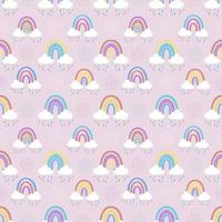 Abstract rainbow with clouds and raindrops, doodles and circles in a seamless pattern. Childrens pattern in muted pastel colors. Hand-drawn vector illustration
