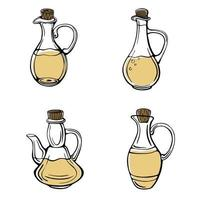 A hand-drawn set of olive oil bottles isolated on a white background. Olive pitchers. Extra virgin oil. Vintage style. Vector illustration in Doodle style