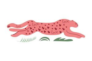 Hand drawn running cheetah with hearts and text love Modern flat illustration vector
