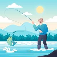 Fishing Activity in the River at Summer vector