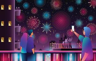 People Enjoying Fireworks in The City Night Sky vector