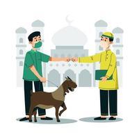 hombre dando una cabra al comité qurban vector